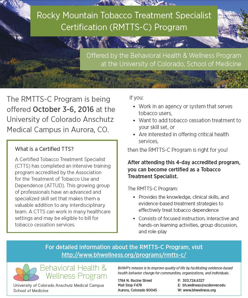 Rocky Mountain Tobacco Treatment Specialist Certification (RMTTS-C ...